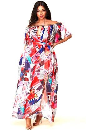 Panema Magazine Collage Print Maxi Dress