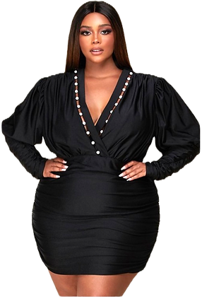 Erin Rhinestone-Encrusted Beads Black Dress