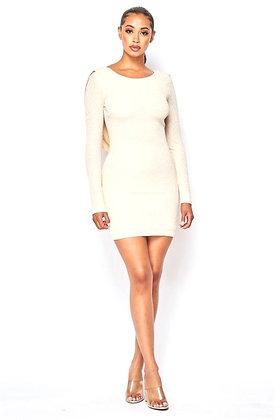 Emilia Drape Back Long Sleeve Glitter Mini Dress