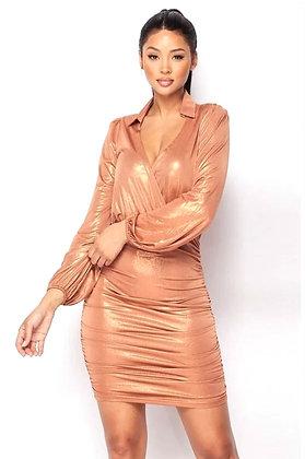 Ginger Metallic Foiled Shirts Detail Mini Dress
