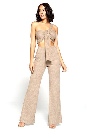Molly One Shoulder Off Crop Top And Palazzo Pants Set