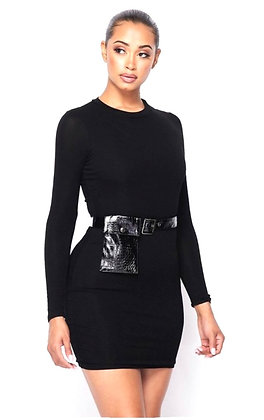 Tolu Long Sleeve Bodycon Dress With Snake Print Belt Bag