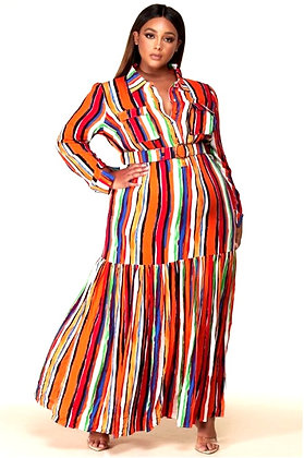 Noai Multi-Color Striped Maxi