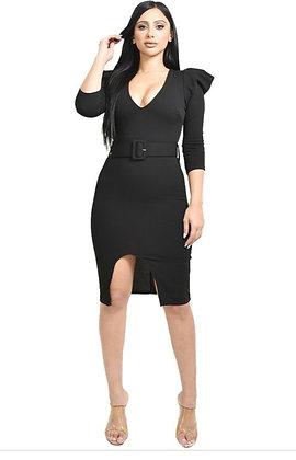 Gisha Black Belted Puff Sleeve Midi Dress