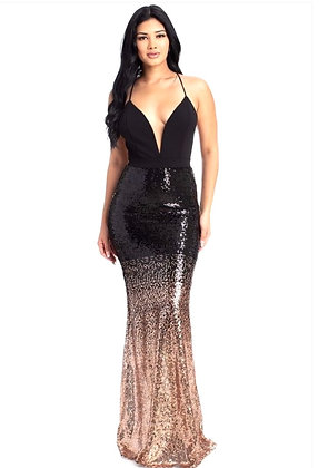 Gina Sequin Ombre Black and Gold V-Neck Evening Dress
