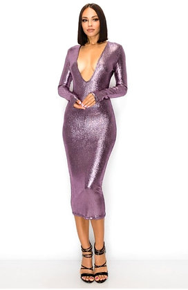 Gabby Purple Shiny Body Con Midi Dress