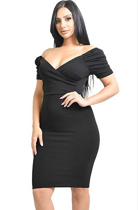 Sweet Honey Solid Black Off Shoulder Sexy Midi Dress