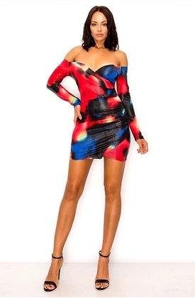 Mildren Abstract Print Off Shoulder Dress