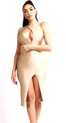 Victoria Sleeveless Sexy Midi Slit Dress
