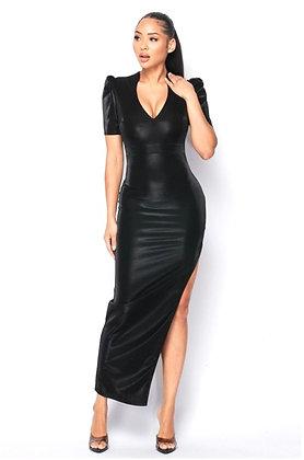 Levy Black Velvet Puff Shoulder Side Slit Maxi Dress