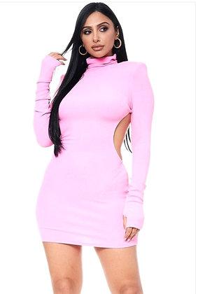 Evas Pink Turtle Neck Mini Dress