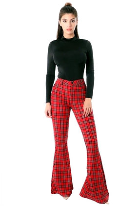 Lima Checker Print Bell Leg Pants