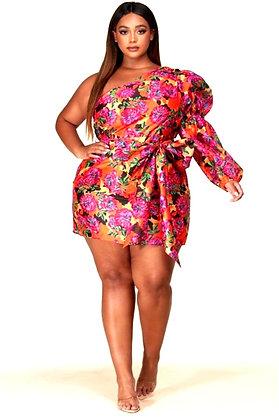 Temi Floral One Shoulder Mini Dress