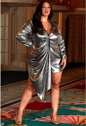 Tina Metallic Asymmetric Dress