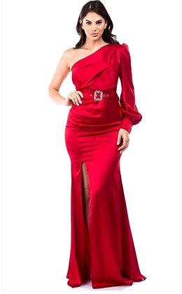 Romia Satin Slit Evening Dress