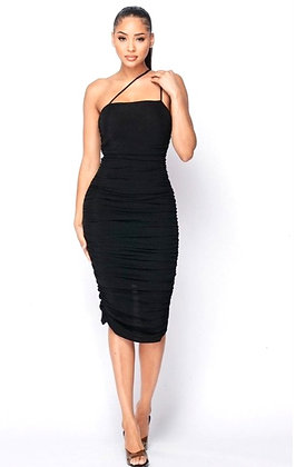 Jessie Black Asymmetrical Spaghetti Strap Midi Bodycon Dress