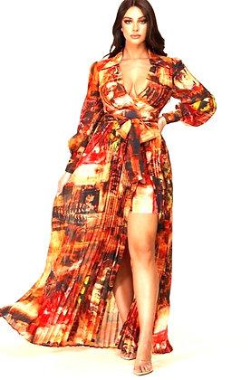 Amber Rusty Abstract Print Maxi Dress
