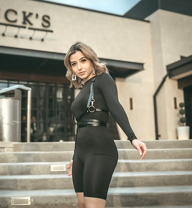 Ivette Black Catsuit Romper With Suspender Belt
