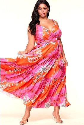Yara Pink Coral Floral Maxi Dress