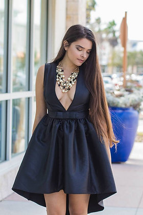 Crowns Bow Black Dress