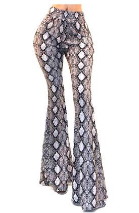 Fallon Snake Print Bell Bottom Pants