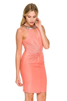 Vita Coral Sequins Neckline Twist Dress