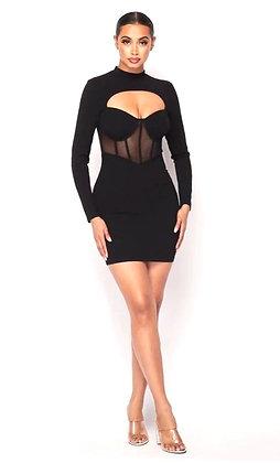 Romania Black Sweetheart Long Sleeve Mini Dress