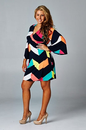 Emerald Plus Size Multicolored Chevron Wrap Dress
