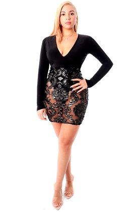 Dannell V Neck Long Sleeve Lace Bodysuit Dress