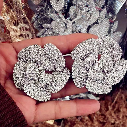 Big Rose Flower Rhinestone Stud Earrings