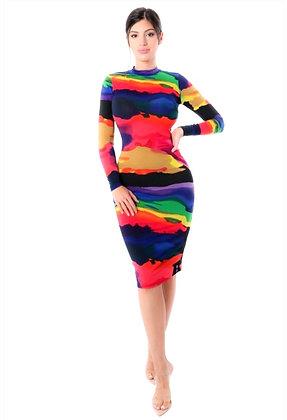 Nina  Print Detail Mock Long Sleeve Bodycon Midi Dress