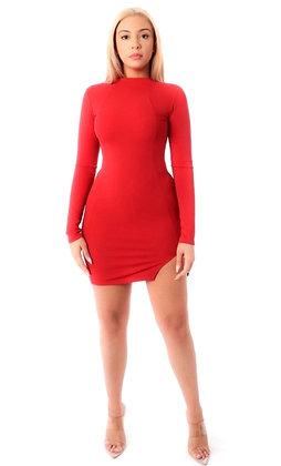 Ruby Red Mini Slit Long Sleeve Bodycon Dress