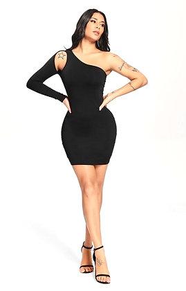 Arina Slant Black One Shoulder Mini Dress