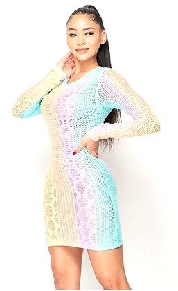 Tamia Rainbow Knit Bodycon Long Sleeve Dress