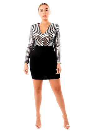 Rayia Sequin V-Neck Long Sleeve Bodycon Dress