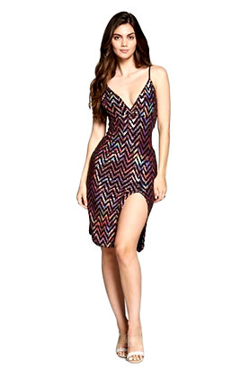 Chevron Sequins Dress