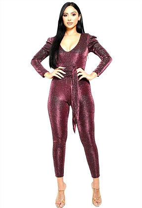 Michelle Metallic Belted Puff Sleeve Jumpsuit