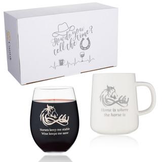 Cantik Horse Coffee Mug & Stemless wine Glass