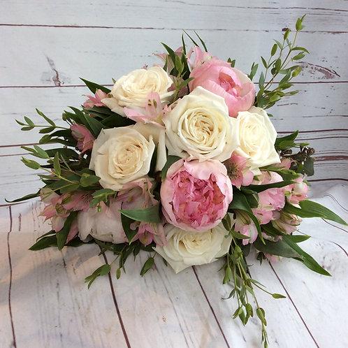 Pink & White Garden Rose Wedding Bouquet