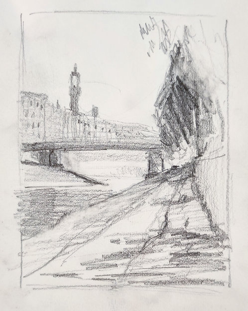 Sketch from the Arno in Florence
