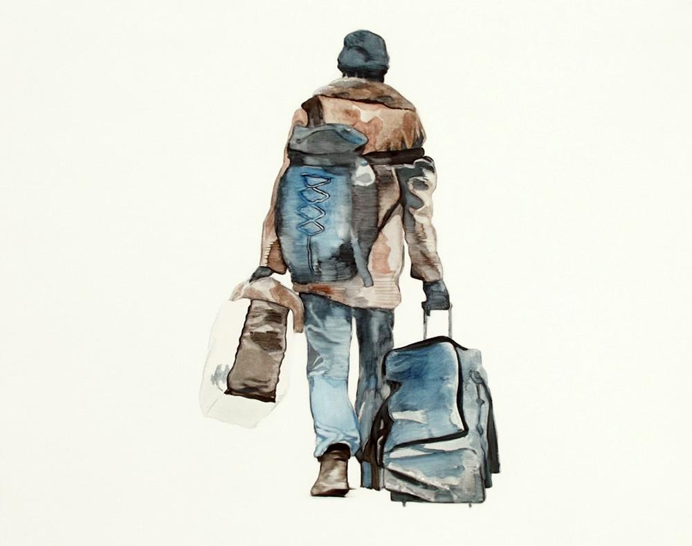 Les exilés II, A.Deshayes, 2017, 73_92cm