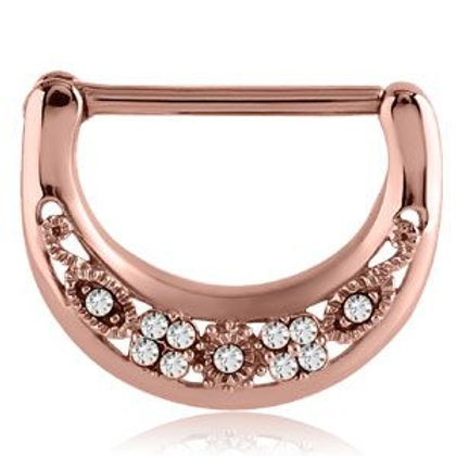 Rose Gold Cast Steel Filigree Gems Nipple Clicker