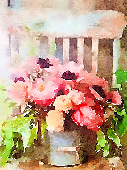 Anemones and peonies on a wooden chair