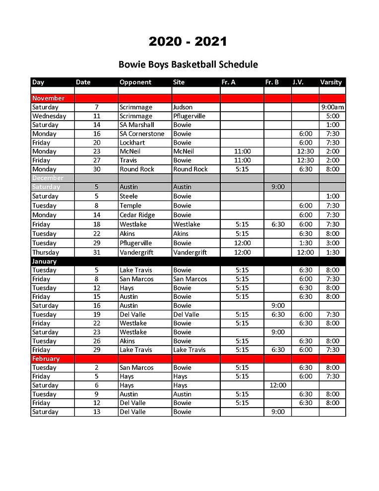 Bowie Boys Basketball Schedule 2020-2021