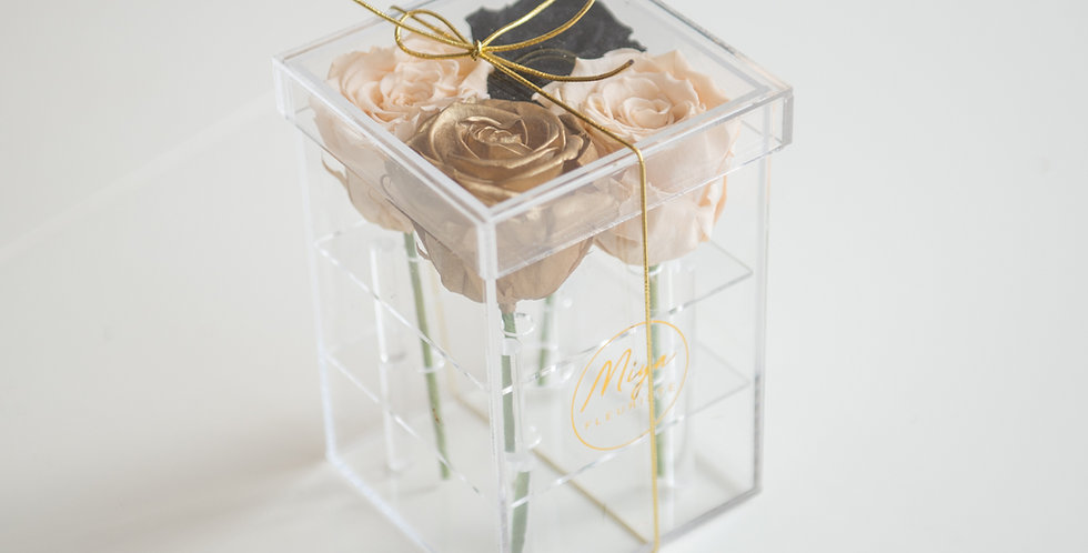 Four roses in an acrylic box