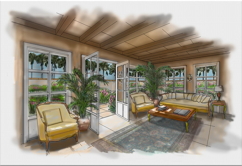 sun porch with watercolor texture paper
