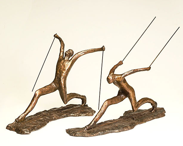 Bronze sculpture nordic skier