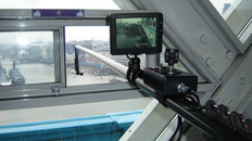 Using polecam to shoot out of Tower Bridge for Spiderweb Man