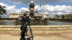 Mark Sallaway operating Polecam at Castle Howard Atlas fountain
