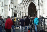 Outside the High Court polecam shoot